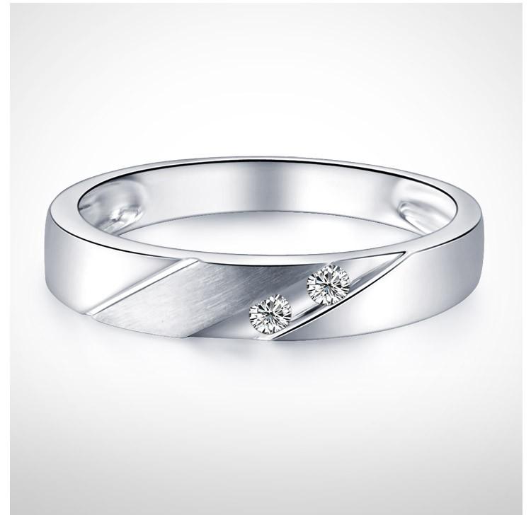 Men Diamond Wedding Band 3mm on 9ct White Gold JeenJewels
