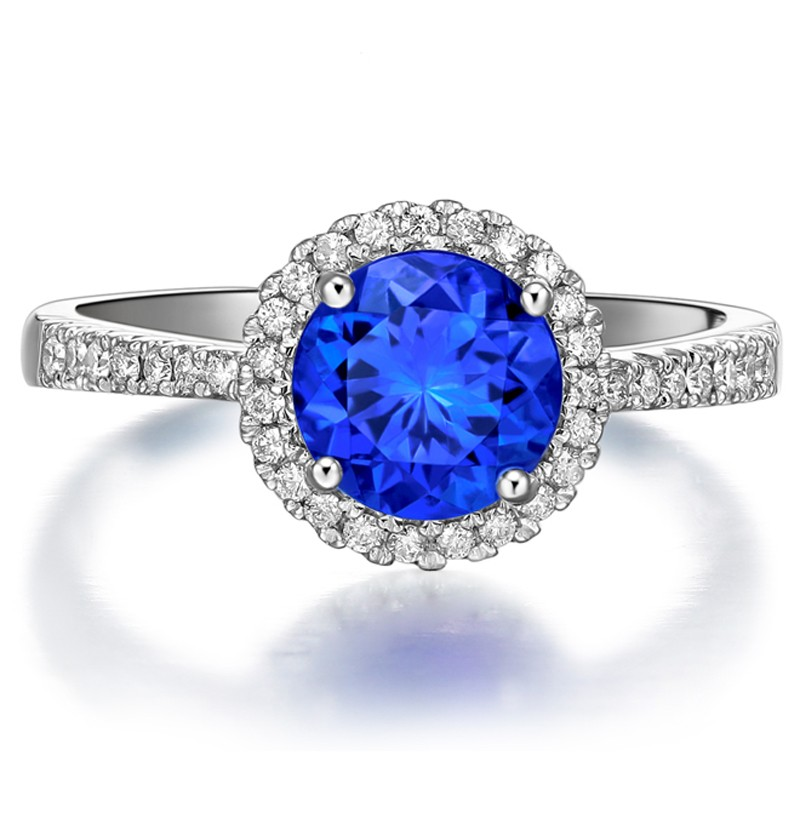 Beautiful 1 Carat Round Blue Sapphire and Diamond Halo Engagement Ring in Whi