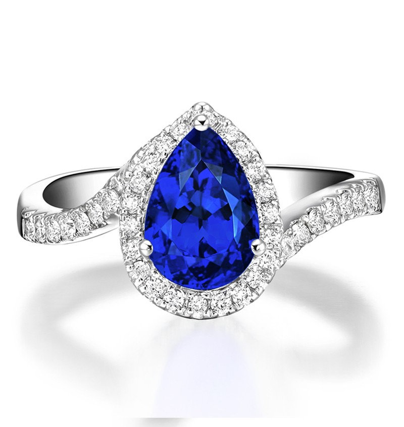 carat pear cut sapphire and diamond curved engagement