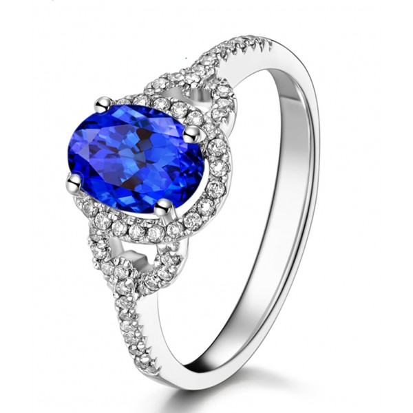 Engagement Rings On Sale Newcastle: Just Perfect 1 Carat Blue Sapphire And Diamond Halo