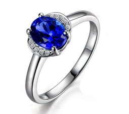 Half carat Sapphire and Diamond affordable engagement ring in white Gold
