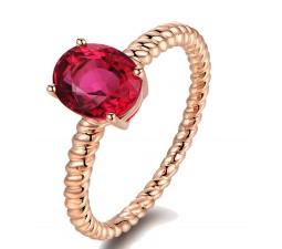 1 Carat Solitaire Ruby Antique Engagement Ring in Rose Gold