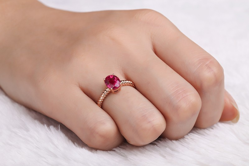 1 Carat Solitaire Ruby Antique Engagement Ring In Rose
