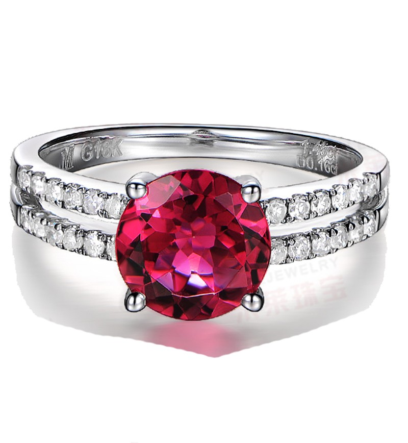1 50 Carat Ruby And Diamond Engagement Ring In White Gold