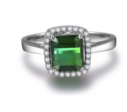 Perfect 1 Carat princess cut Emerald and Diamond Halo Engagement Ring in White Gold