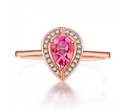 Bestselling 1 Carat Pink Sapphire and Diamond Halo Engagement Ring in Rose Gold