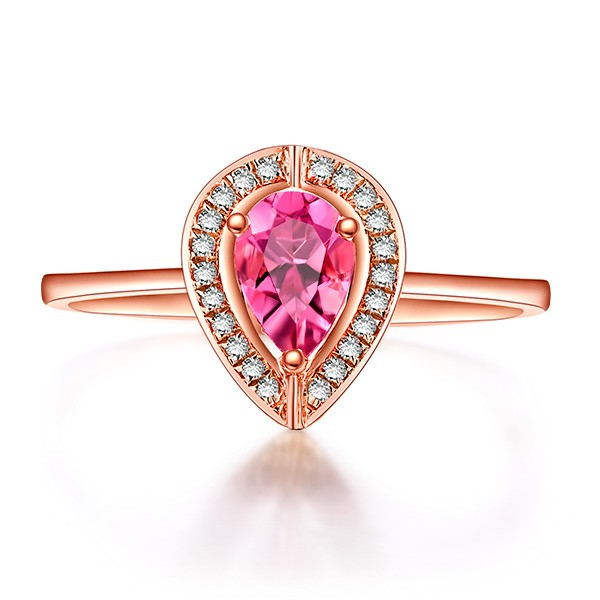 Bestselling 1 Carat Pink Sapphire and Diamond Halo Engagement Ring in Rose Go