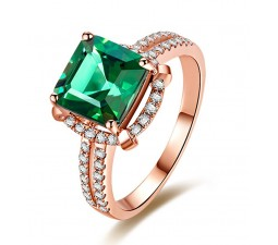 Halo 2.50 Carat princess cut Emerald and Diamond Engagement Ring in Rose Gold