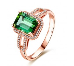 Designer 2.50 Carat Emerald and Diamond Engagement Ring in Rose Gold
