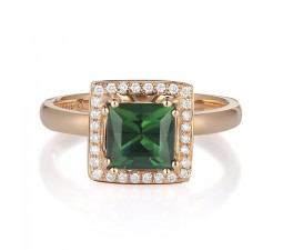 Elegant 1 Carat Emerald and Diamond Halo Engagement Ring for Her in Yellow Gold
