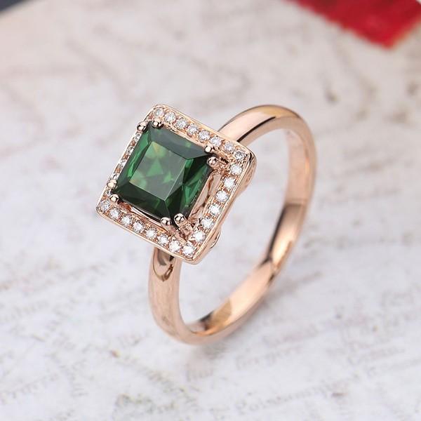Elegant 1 Carat Emerald And Diamond Halo Engagement Ring