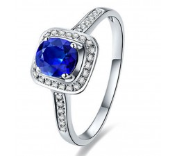 1.50 Carat Blue Sapphire and Diamond Halo Engagement Ring for Women in White Gold