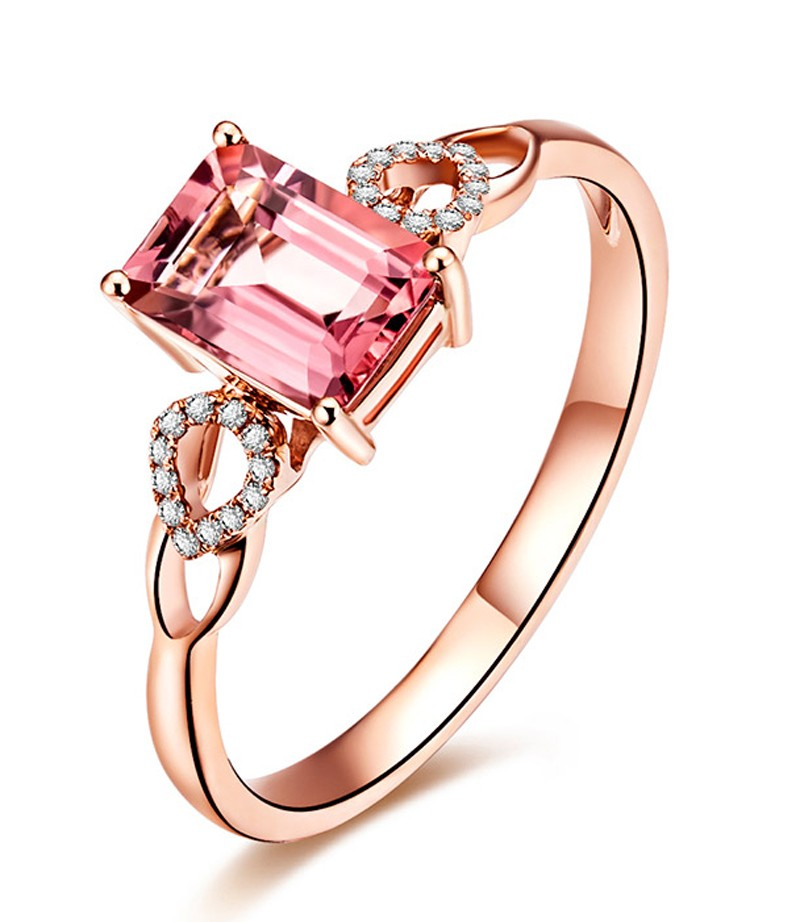 Beautiful 1 Carat Pink Sapphire and Diamond Engagement Ring in Rose Gold Je