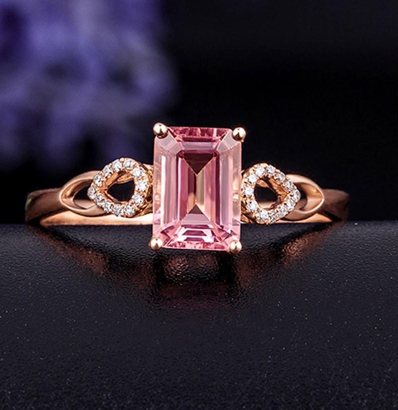 Beautiful 1 Carat Pink Sapphire And Diamond Engagement