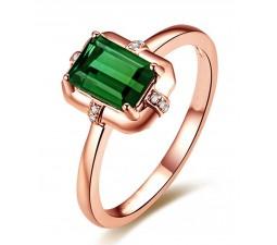 Designer 1 Carat Emerald and Diamond Engagement Ring in Rose Gold