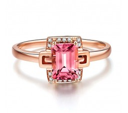 Designer 1.25 Carat Pink Sapphire and Diamond Gemstone Engagement Ring in Rose Gold