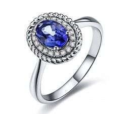 Antique Sapphire and Diamond Halo Engagement Ring with 1.25 Carat weight in White Gold