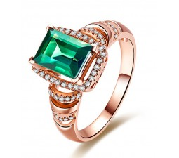 Designer 1.50 Carat Emerald and Diamond Engagement Ring in Rose Gold