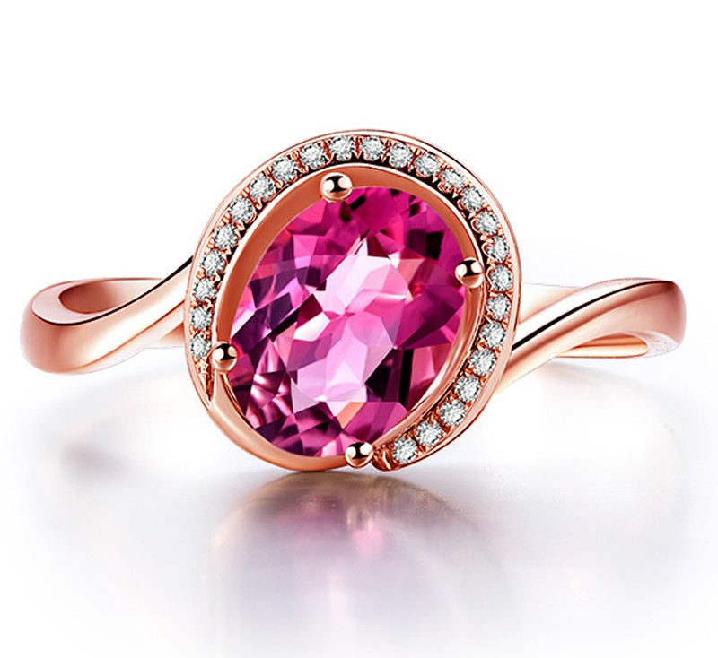 Curved 1 25 Carat Pink Sapphire and Diamond Engagement Ring in Rose Gold Je