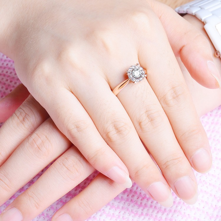 On Sale Half Carat Round Diamond Halo Engagement Ring With Heart Shape Prongs