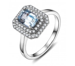 2.50 Carat Blue Topaz and Diamond double Halo Engagemnet Ring in White Gold