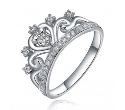 Unique Princess Crown Half Carat Diamond Engagement Ring in White Gold