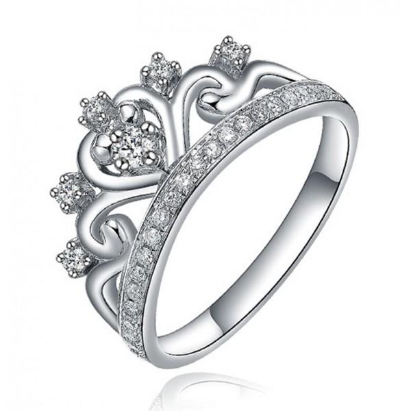 unique princess crown half carat engagement ring