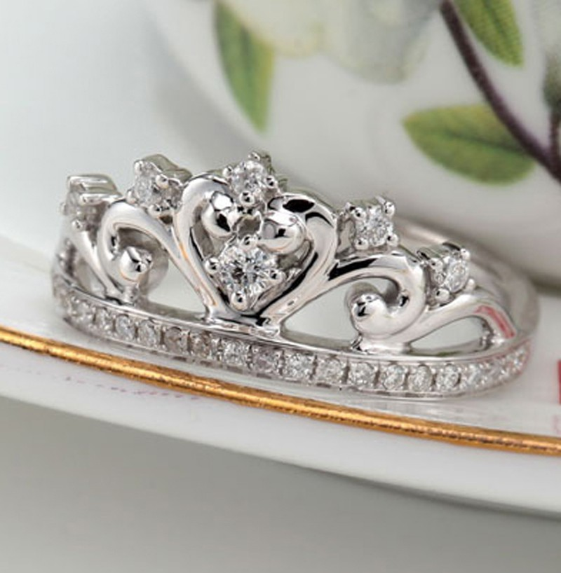 unique princess crown half carat engagement ring