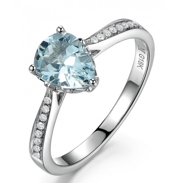 Elegant 1 Carat Pear Cut Topaz And Diamond Engagement Ring