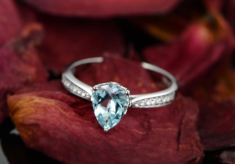 Elegant 1 Carat Pear Cut Topaz And Diamond Engagement Ring