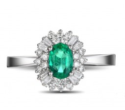 1 Carat Emerald and Diamond Halo Engagement Ring in White Gold