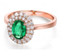 2 Carat Double Halo Emerald and Diamond Engagement Ring in Rose Gold