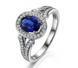 Vintage 2 Carat Blue Sapphire and Diamond Halo Engagement Ring for Women