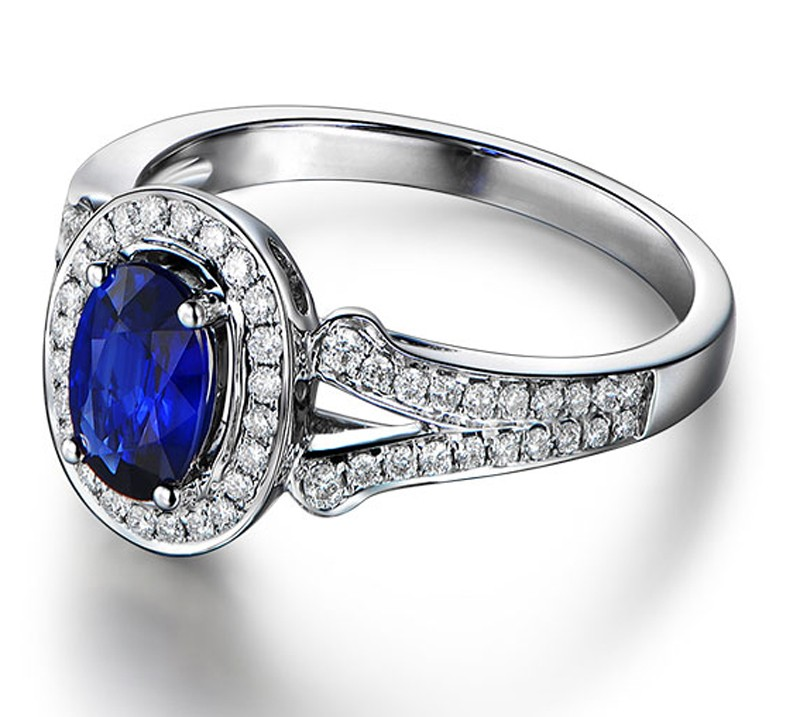 Vintage 2 Carat Blue Sapphire And Diamond Halo Engagement