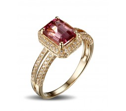 Luxurious 1.50 Carat Ruby and Diamond Halo Engagement Ring in Yellow Gold