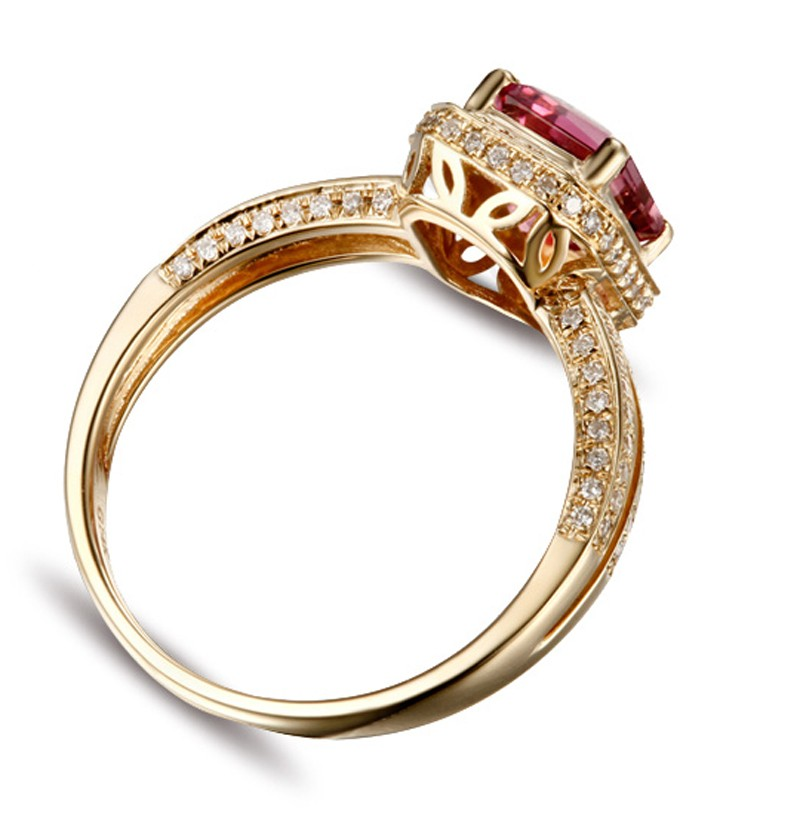 Luxurious 150 Carat Ruby And Diamond Halo Engagement Ring In Yellow Gold