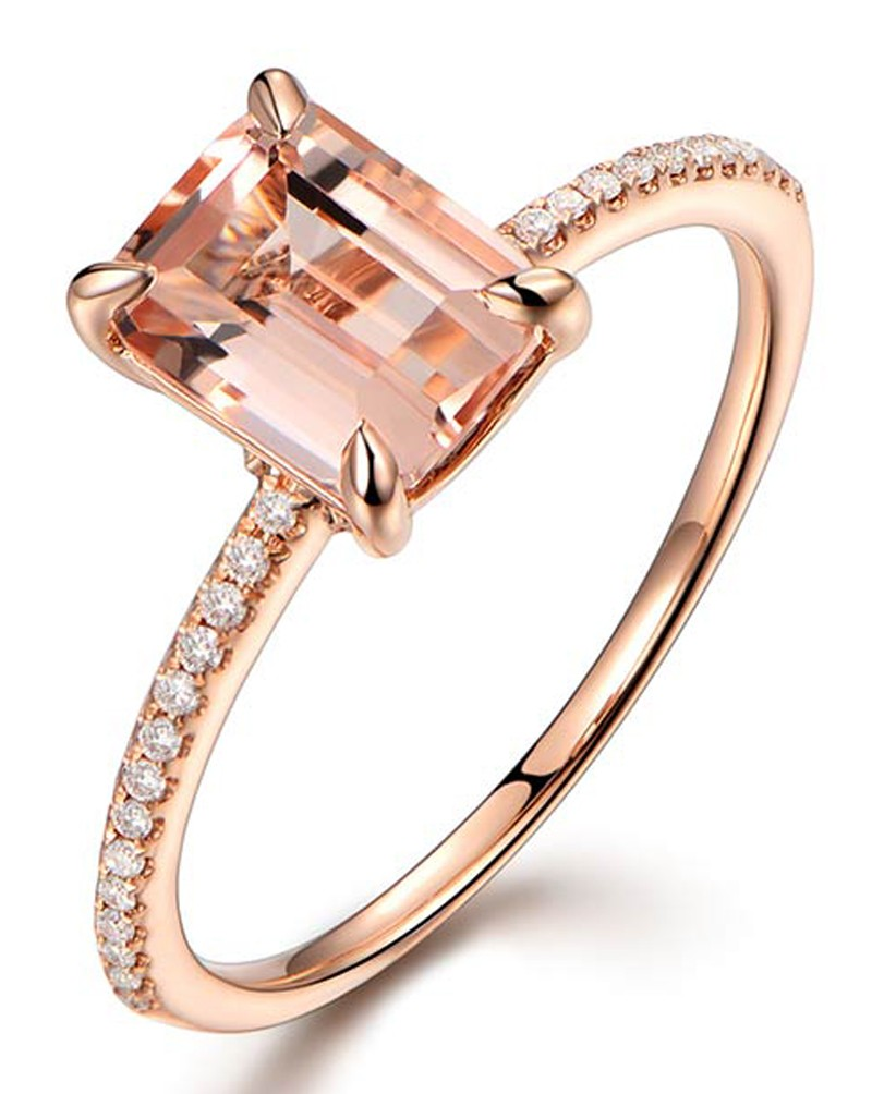 1 carat morganite and round cut diamond engagement ring in. Black Bedroom Furniture Sets. Home Design Ideas