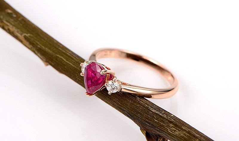 Trilogy Half Carat Pear Shape Ruby And Round Diamond