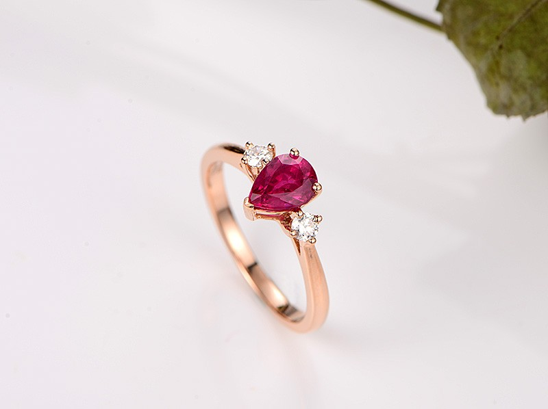 Trilogy Half Carat Pear Shape Ruby And Round Diamond