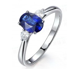 Trilogy Half Carat oval cut Sapphire and Round Diamond Engagement Ring in White Gold