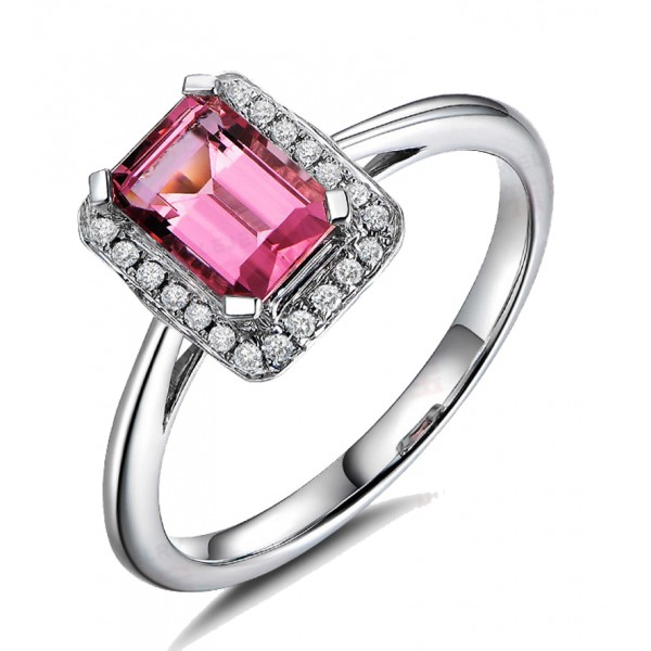 .50 Carat Pink Sapphire and Diamond Halo Engagement Ring in White Gold