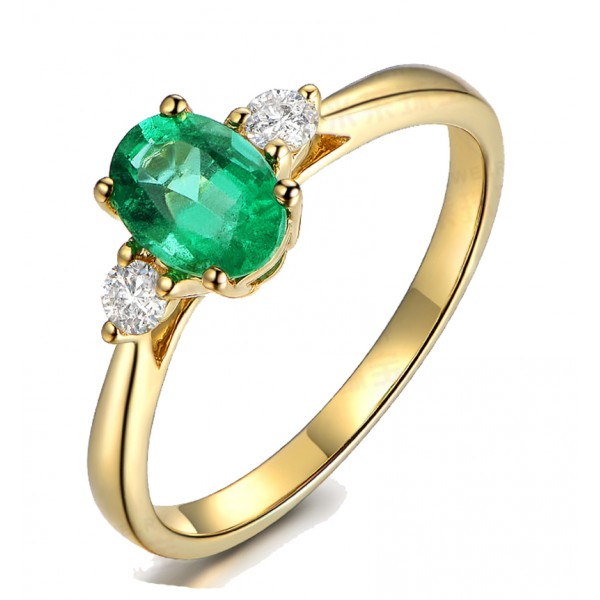 Trilogy Half Carat oval cut Emerald and Round Diamond Engagement Ring in Yellow Gold