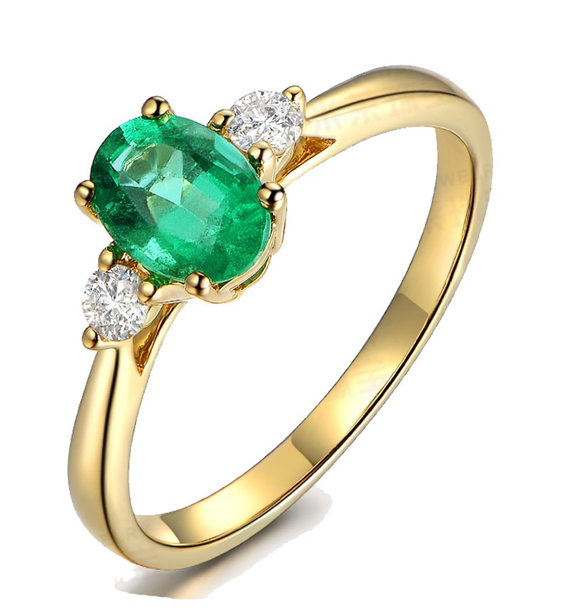 Trilogy Half Carat oval cut Emerald and Round Diamond Engagement Ring in Yell
