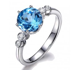 Perfect 1 Carat Blue Topaz and Diamond Engagement Ring in White Gold
