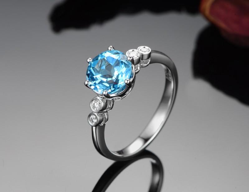 Blue topaz engagement rings gold