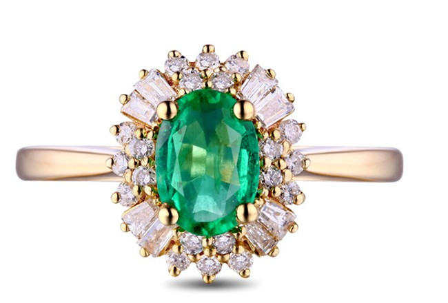1 Carat Halo Gemstone Green Emerald And Diamond Engagement