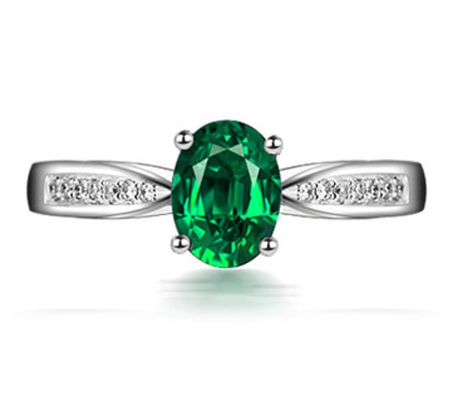 1 Carat Green Emerald And Diamond Engagement Ring In White Gold