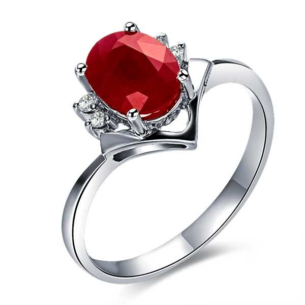 affordable ruby and engagement ring on 10k white