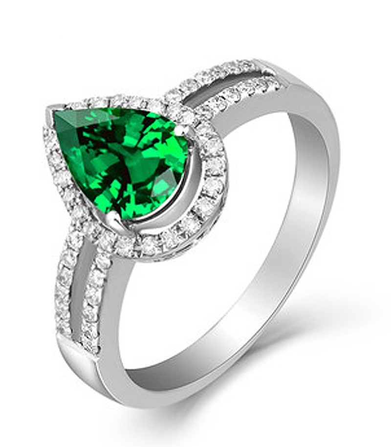 Emerald And Diamond Wedding Ring 2 Carat Emerald And Diamond Halo Engagement Ring In White