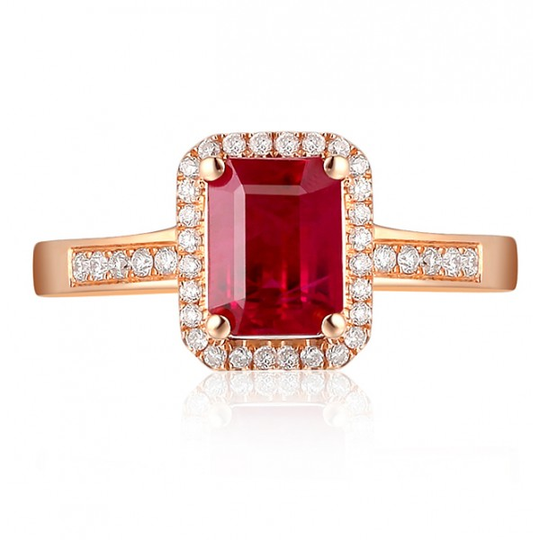 1 50 Carat emerald cut Ruby and Diamond Engagement Ring in Rose Gold JeenJe